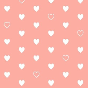 White Hearts on Peach – Love Heart Valentines Day Baby Girl