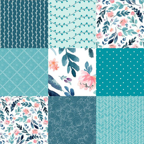 Turquoise Floral Quilt Panel - Cheater Quilt, Patchwork Blush Peach Watercolor Peonies & Teal/Blue Leaves. Ginger Lous