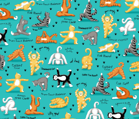Kitty Cat Yoga Turquoise fabric by phyllisdobbs on Spoonflower - custom fabric