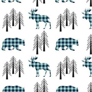 Woodland Moose, Bear & Trees – Navy + Mint Plaid Bears Buffalo Plaid Check Forest Baby Nursery Bedding GingerLous
