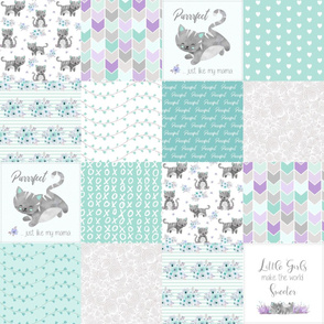 Purrrfect Kitten Patchwork Quilt - Mint & Grey - Purrrfect... just like my mama