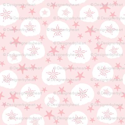 Starfish and sand dollars large // pink white trendy kids nursery baby girl beach coastal ocean floor sea