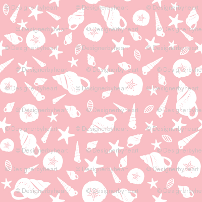 Shells small // pink white trendy kids nursery baby girl coastal beach seashore sea bed