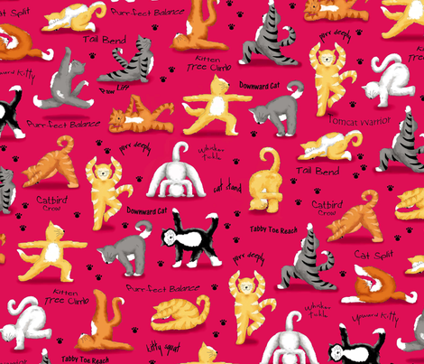 Kitty Cat Yoga Poses Red fabric by phyllisdobbs on Spoonflower - custom fabric