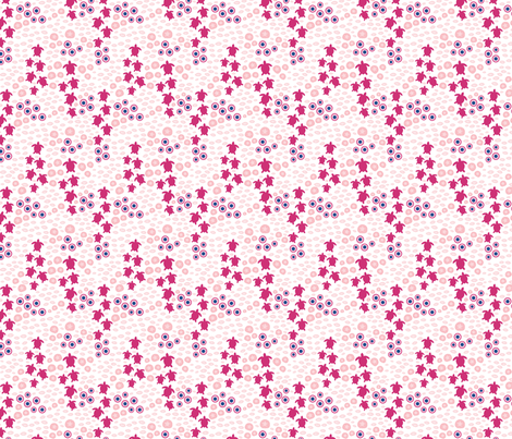 Underwater sea turtles large // pink white trendy kids nursery baby girl sea bed starfish shells fabric by designerbyheart on Spoonflower - custom fabric