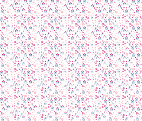 Corals small // white pink trendy kids nursery baby girl sea flowers sand dollars starfish sea bed ocean fabric by designerbyheart on Spoonflower - custom fabric