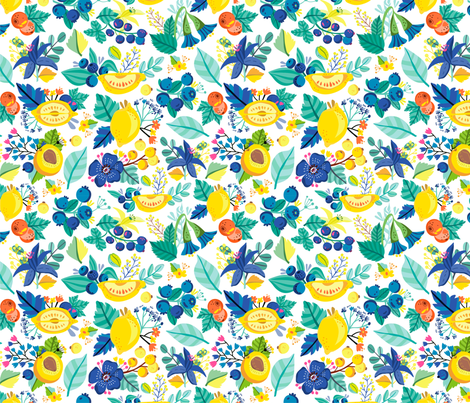 Lemon berry pattern fabric by marushabelle on Spoonflower - custom fabric