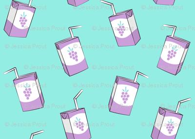 grape juice - juice boxes on blue
