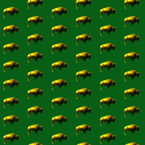 yellow bison on green
