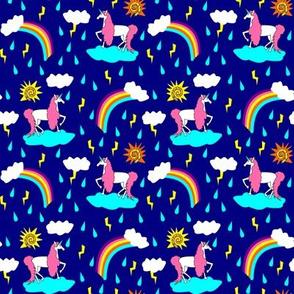 unicorn sunshine on blue