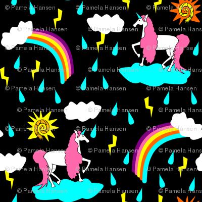 unicorn sunshine on black