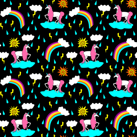 unicorn sunshine on black fabric by pamelachi on Spoonflower - custom fabric