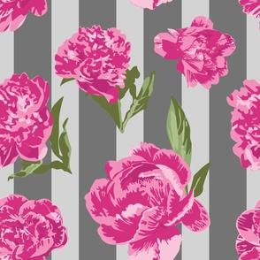 Striped Hot Pink Peony Seamless Pattern