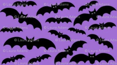 Bats on dark purple.