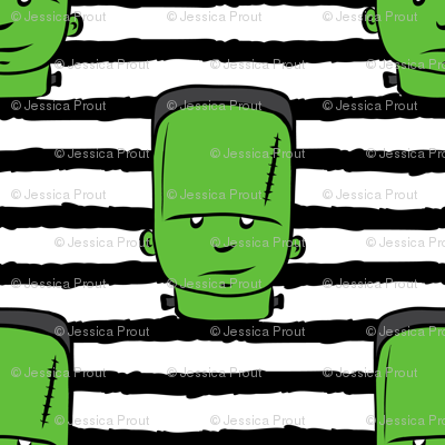 frankenstein on stripes - halloween fabric
