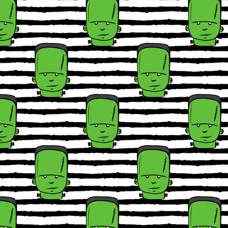 frankenstein on stripes - halloween fabric fabric by littlearrowdesign on Spoonflower - custom fabric