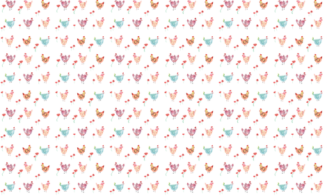 Chickens_Floral_White-01 fabric by twodreamsshop on Spoonflower - custom fabric