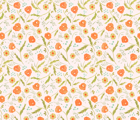 Poppies Etc - Off White fabric by caleb_luke_lin on Spoonflower - custom fabric