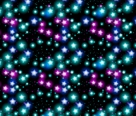 Abstract starry pattern with neon star on black background fabric by ekaterinap on Spoonflower - custom fabric