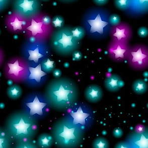 Abstract starry pattern with neon star on black background