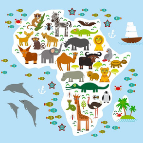 Animal Africa. Map blanket