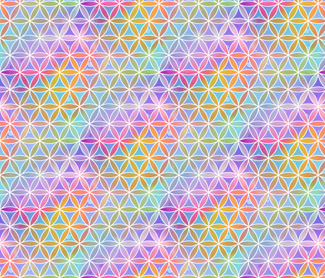 Rainbow Geo Flowers fabric by emmaallardsmith on Spoonflower - custom fabric