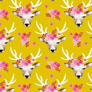 Sweet indian summer bohemian watercolor deer love  yellow mustard
