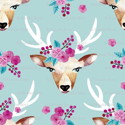 Sweet indian summer bohemian watercolor deer love baby blue