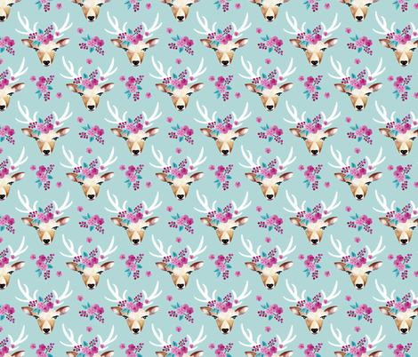 Sweet indian summer bohemian watercolor deer love baby blue fabric by littlesmilemakers on Spoonflower - custom fabric