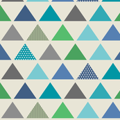Triangle Rows // Cedar Creek Collection - cream (large scale) blue teal green boy nursery kids room