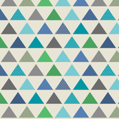 Triangle Rows // Cedar Creek Collection - cream (small scale) blue teal green boy nursery kids room