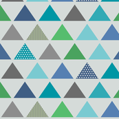 Triangle Rows // Cedar Creek Collection - frost gray (large scale) blue teal green boy nursery kids room