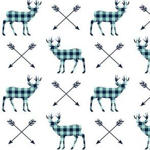 Deer & Arrows - Navy and Mint Buffalo Plaid Lumberjack Baby Nursery Kids Childrens Bedding Woodland Animals