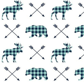 Bear, Moose & Arrows - Navy and Mint Buffalo Plaid Lumberjack Baby Nursery Kids Childrens Bedding Woodland Animals
