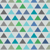 Triangle Rows // Cedar Creek Collection - frost gray (small scale) blue teal green boy nursery kids room