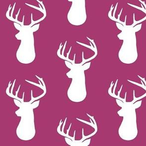 Raspberry + White Deer Buck Silhouette – Woodland Baby Girl Nursery Bedding