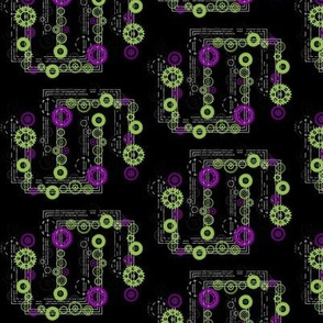 Clockwork Chains Purple and Green
