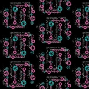 Clockwork Chains Pink and Turquoise