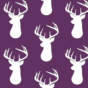 Plum + White Deer Buck Silhouette – Woodland Baby Girl Nursery Bedding