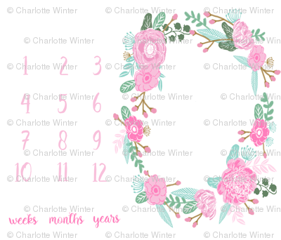 "42"" x 36"" milestone blanket pink flowers - baby girl design"