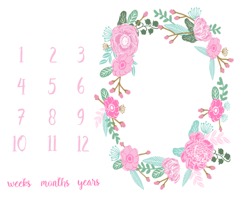 "42"" x 36"" milestone blanket pink flowers - baby girl design fabric by charlottewinter on Spoonflower - custom fabric"