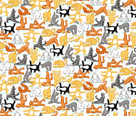 Kitty Cat Yoga Poses fabric by phyllisdobbs on Spoonflower - custom fabric