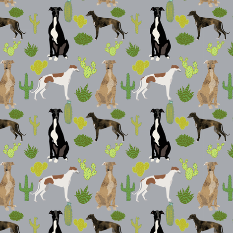 greyhounds cactus design dogs and cacti fabric - grey fabric by petfriendly on Spoonflower - custom fabric