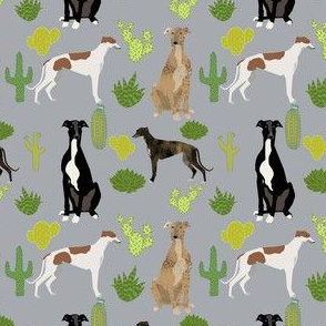 greyhounds cactus design dogs and cacti fabric - grey