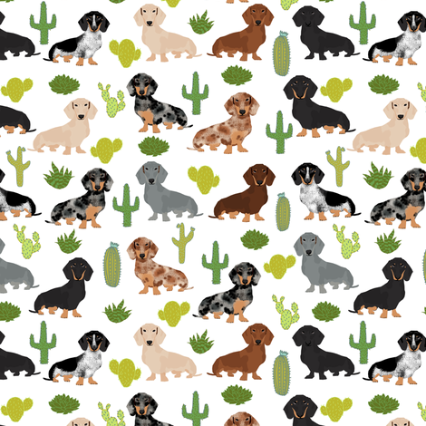 dachshund dog fabric dogs and cactus design - white fabric by petfriendly on Spoonflower - custom fabric