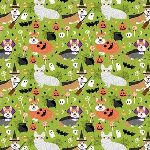 corgi halloween fabric howl o ween design - lime (small size)