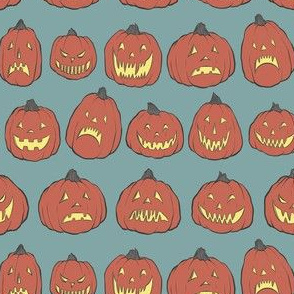 Retro Jack O'Lanterns on Blue