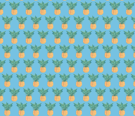 Blue Pineapple  fabric by arrpdesign on Spoonflower - custom fabric