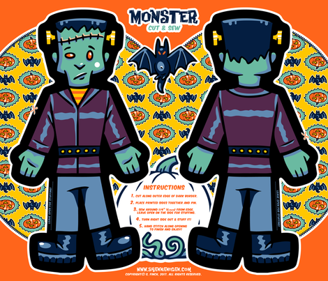 Halloween Hoopla - Monster - Cut & Sew fabric by shannanigan on Spoonflower - custom fabric