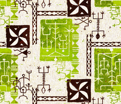 Hawaiian Petroglyphs 1a fabric by muhlenkott on Spoonflower - custom fabric